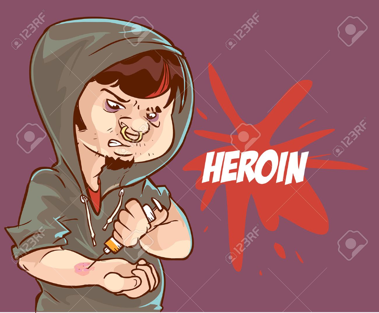 Cartoon vector illustration of a drug addict man addicted to heroin injecting a syringe - 52610598