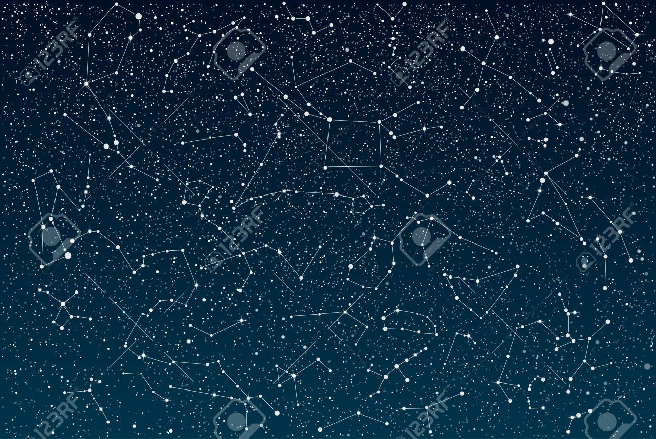 Vector objects. 12 signs of the zodiac on a background of the starry sky. Set of zodiac signs. Horoscope. - 52668052