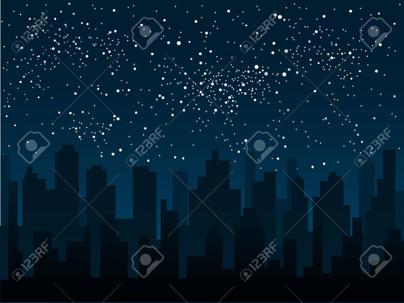 Vector silhouette of the city against the backdrop of a starry night sky. - 52668245
