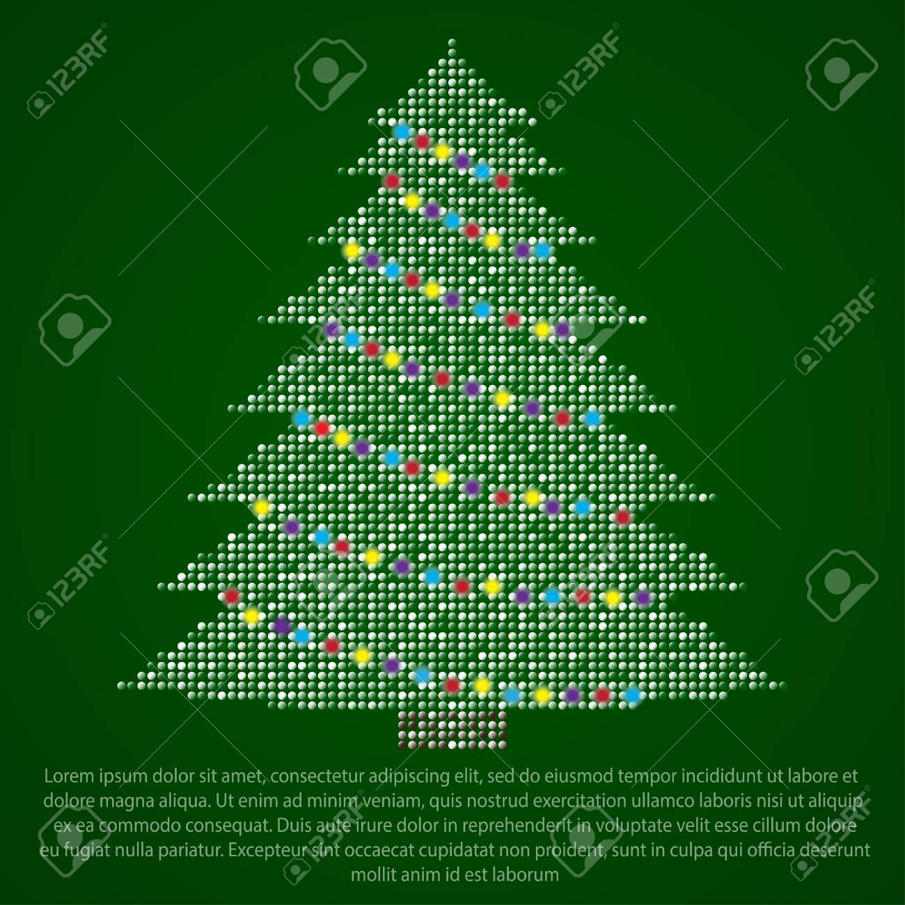 Christmas Tree Made Of Multicolored Price On Different Backgrounds ...