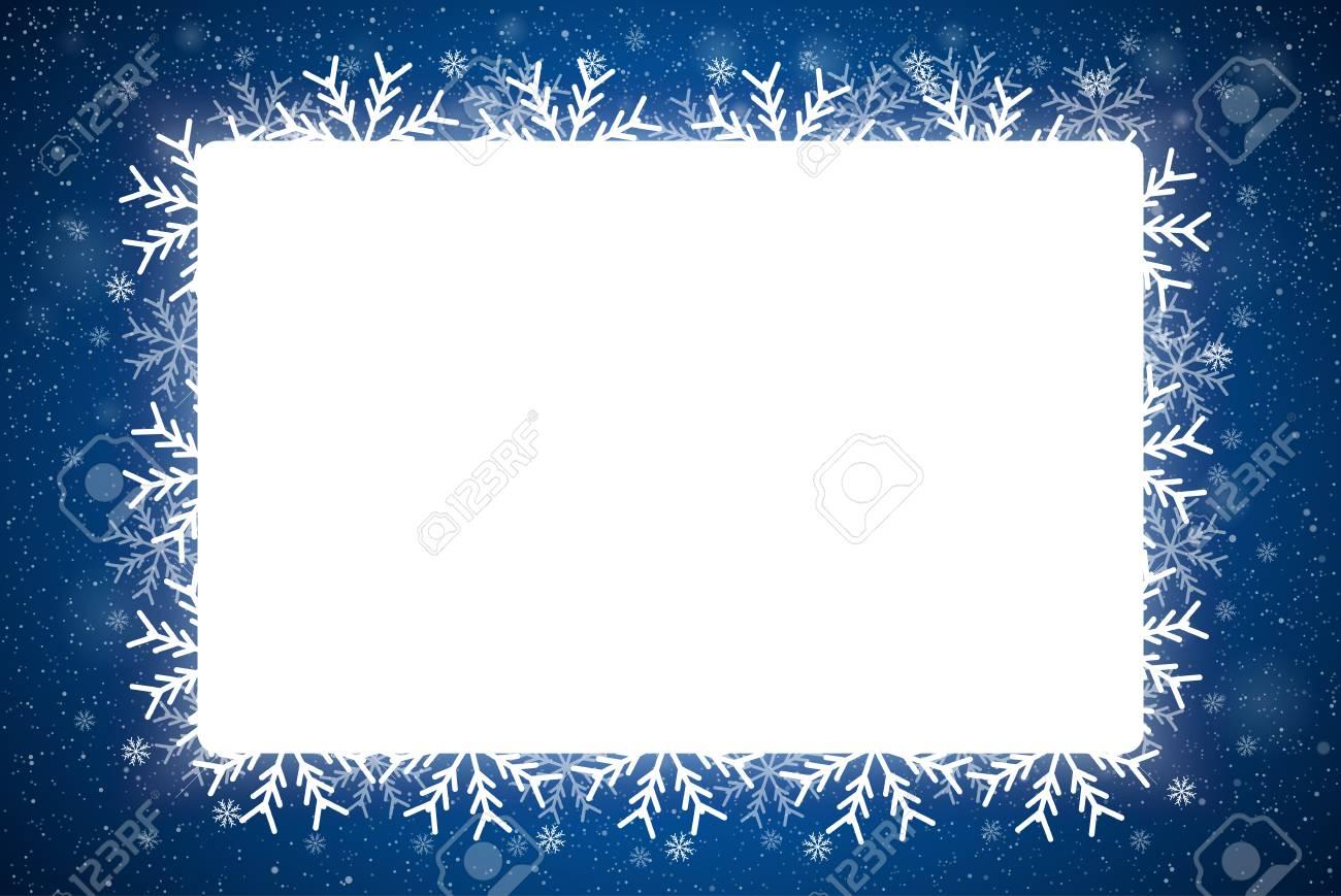 Vector Rectangle White Frame Snowflake. Falling Snow. Blue Winter ...
