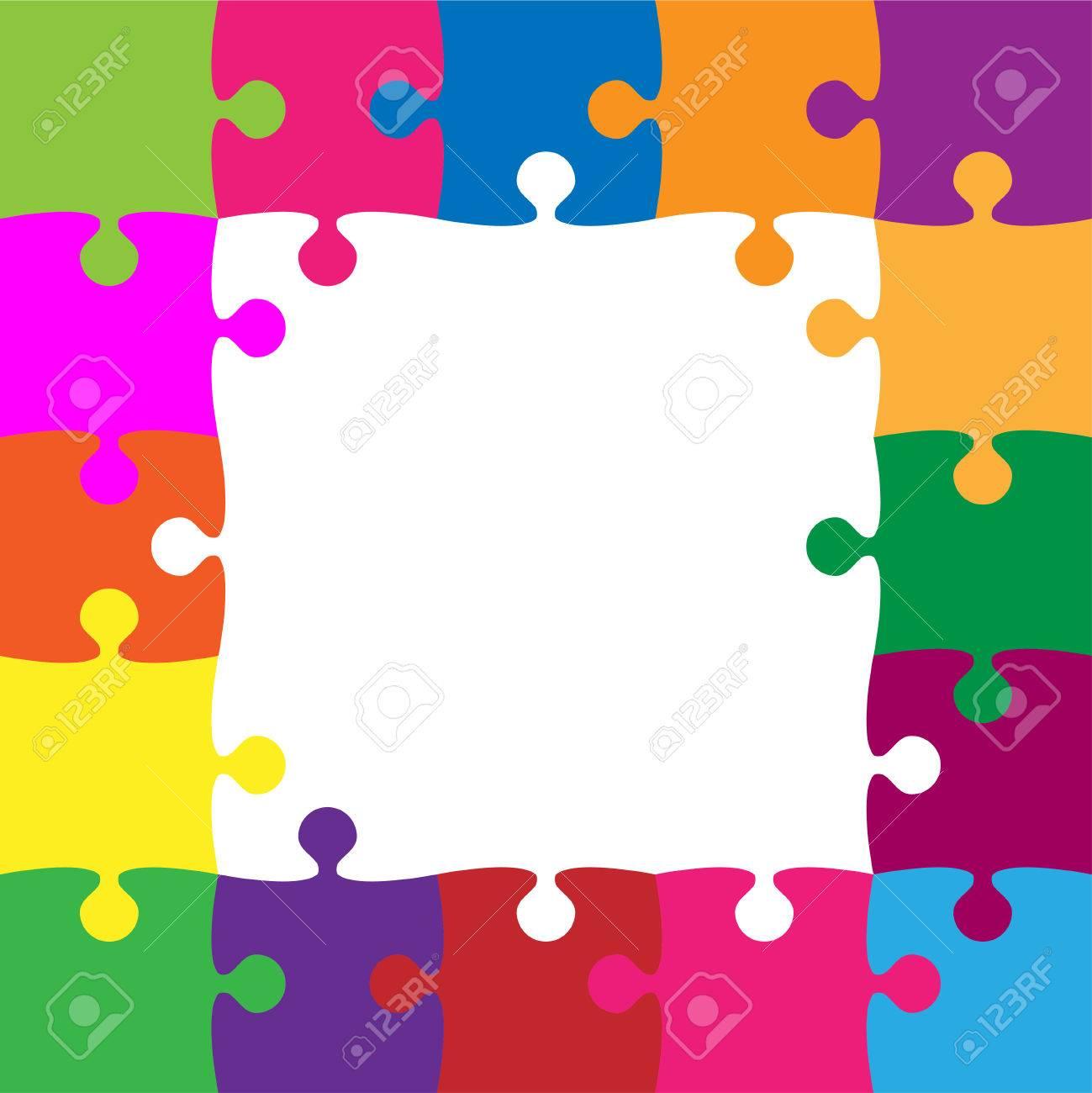 25 Color Rompecabezas Piezas Dispuestas En Un Cuadrado ...
