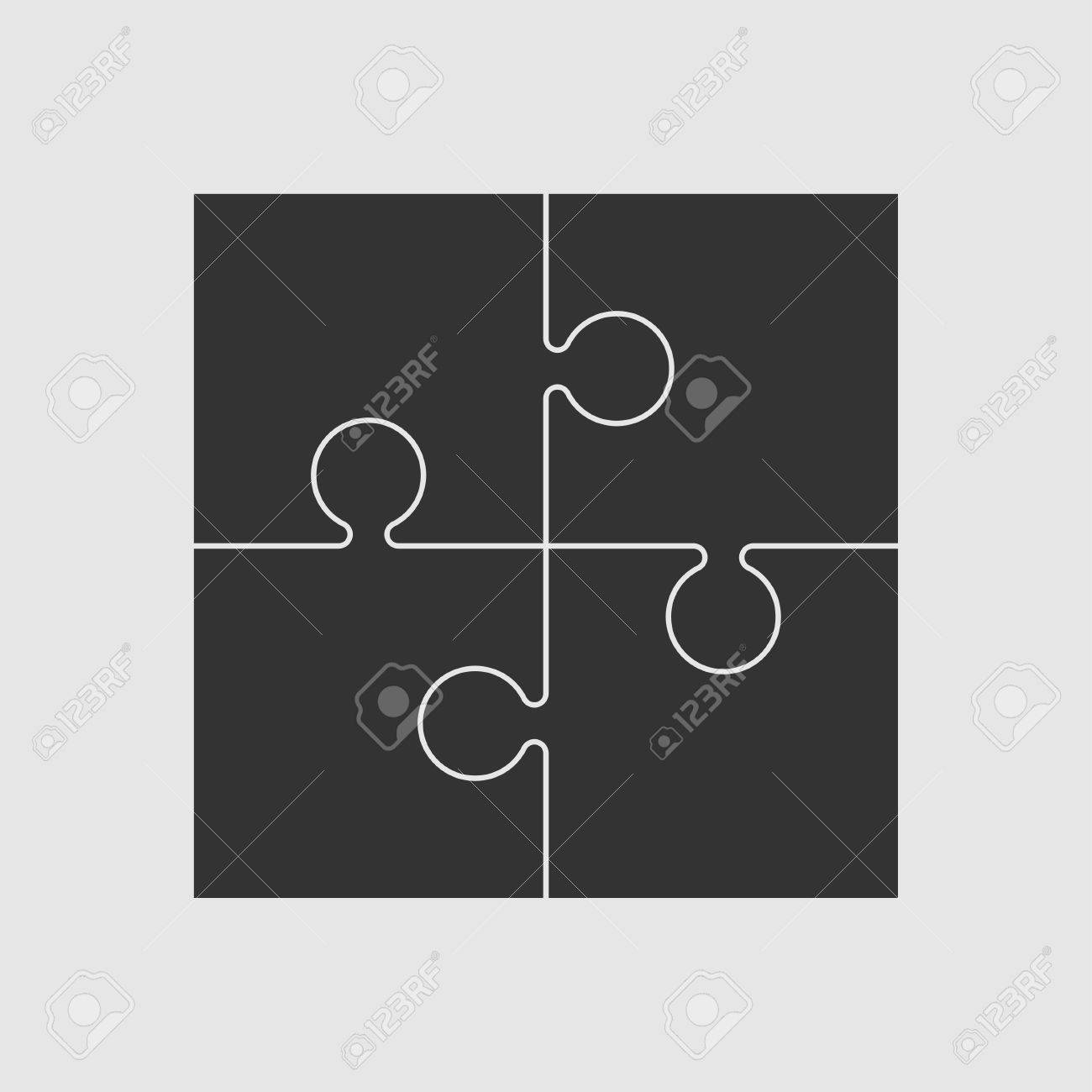 Four Black Piece Flat Puzzle Round Infographic Presentation ...