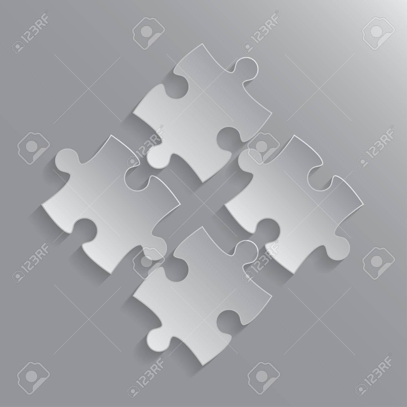 Four Grey Piece Flat Puzzle Round Infographic Presentation. 4 ...
