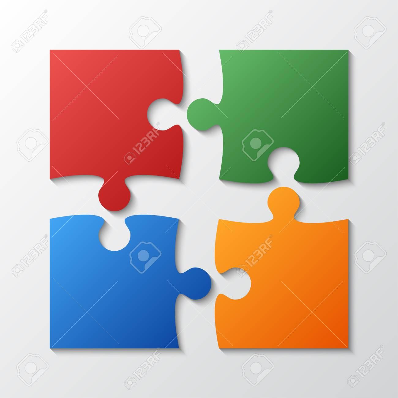 A four color piece jigsaw puzzle round infographic presentation. - 87442402