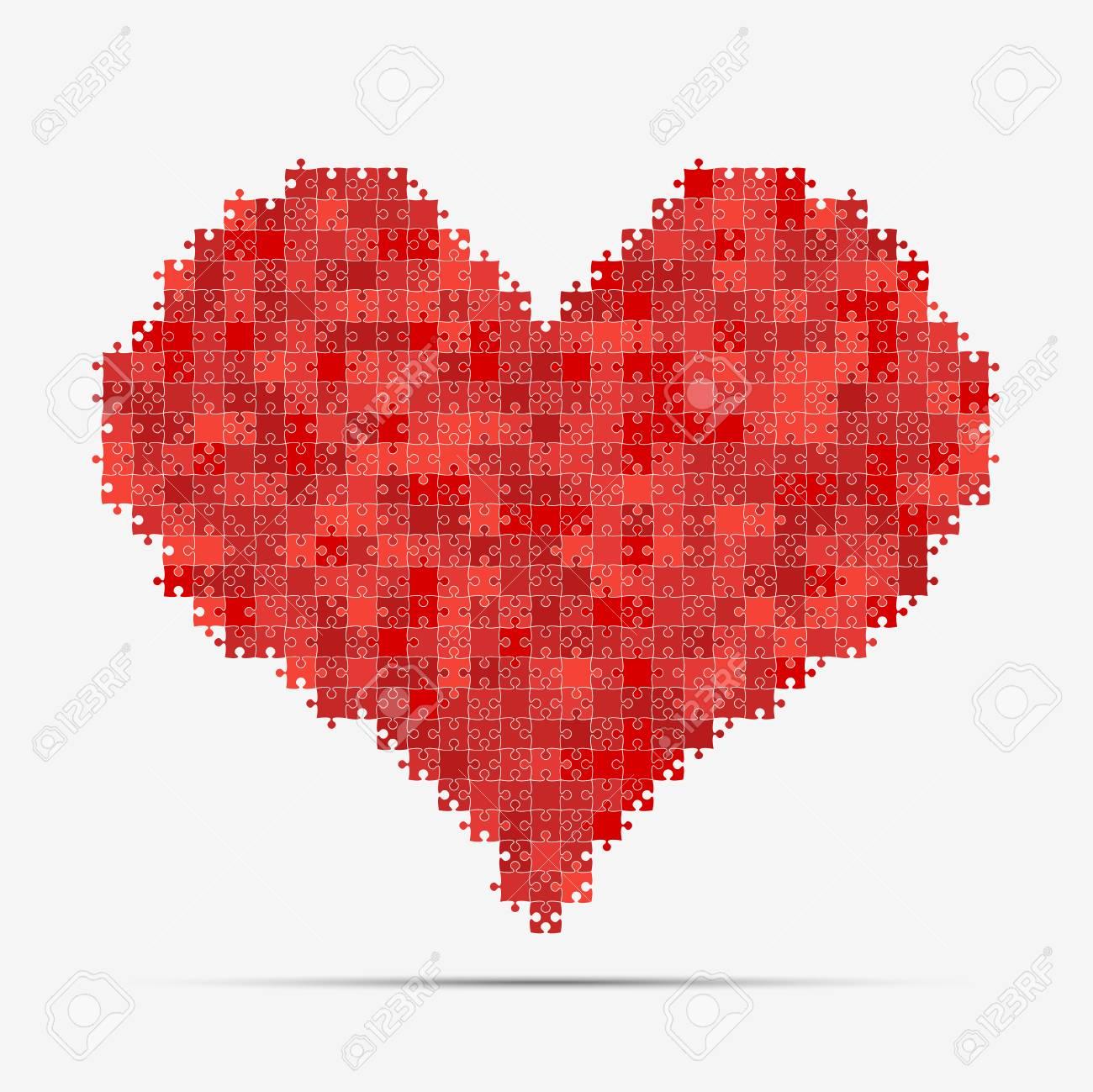 pièce rouge puzzle coeur saint valentin, amour clip art libres de
