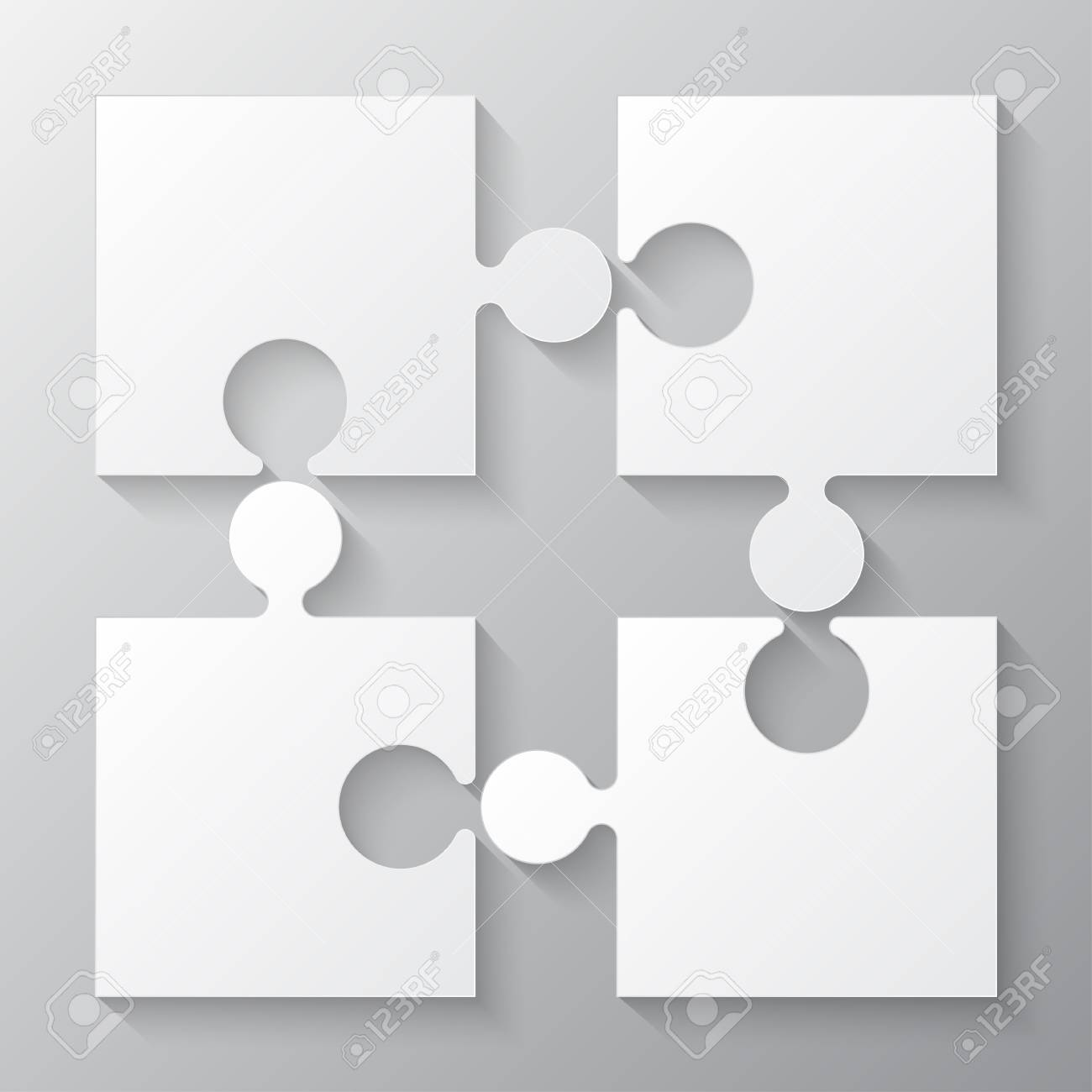 Four White Piece Jigsaw Puzzle Round Infographic Presentation ...