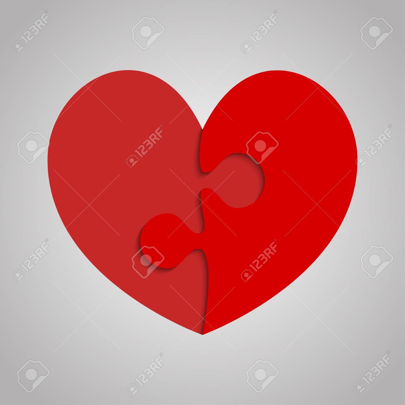 puzzle de 2 pièces rouges coeur saint valentin, amour banque d