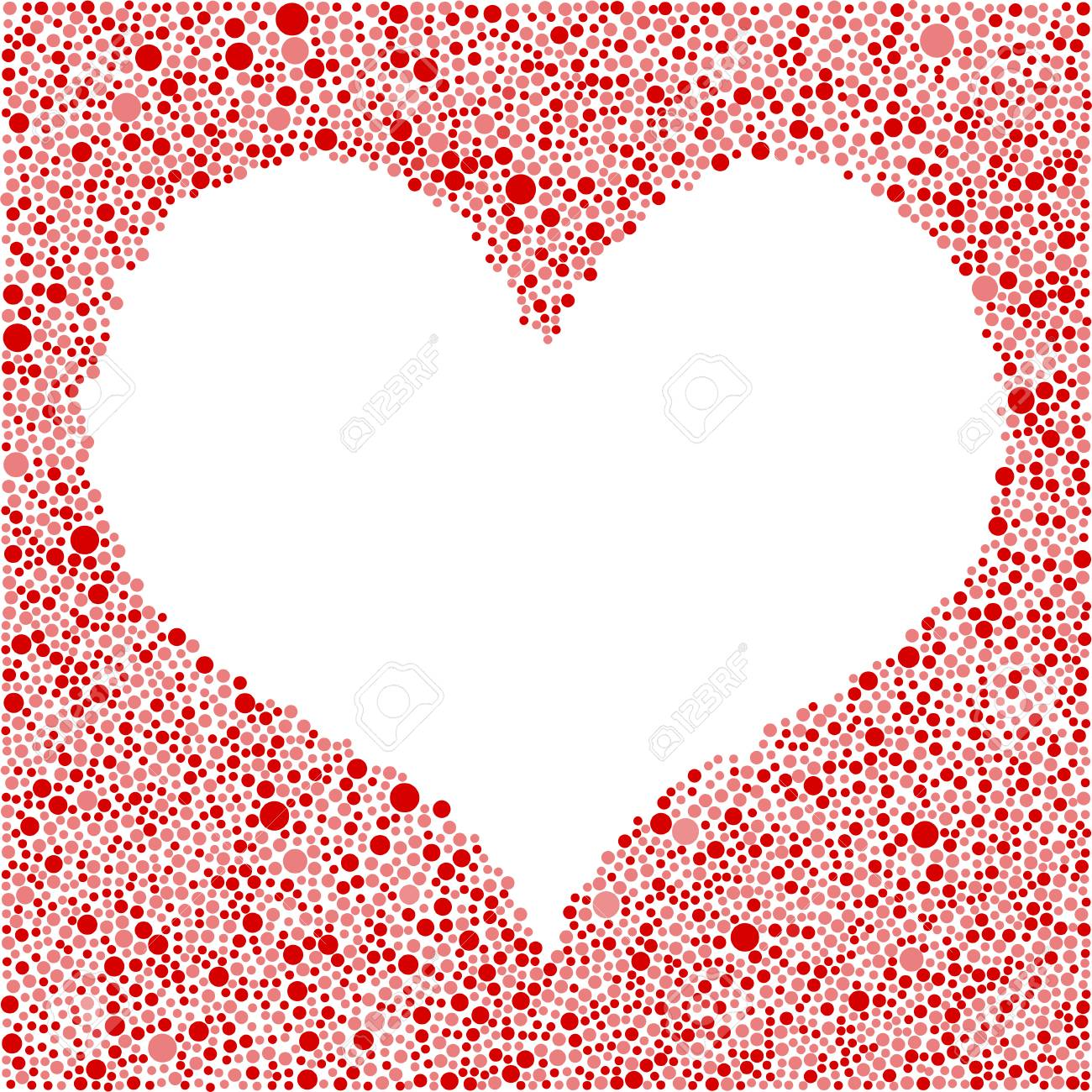 Abstract With Red Bubbles Circle Heart Frame On White Background ...
