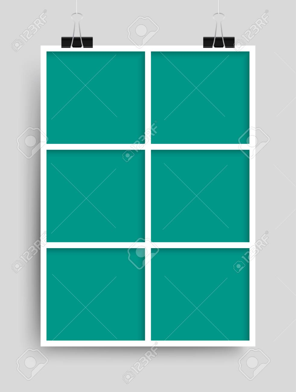Templates Collage Six Frames For Photo Or Illustration. Vector ...