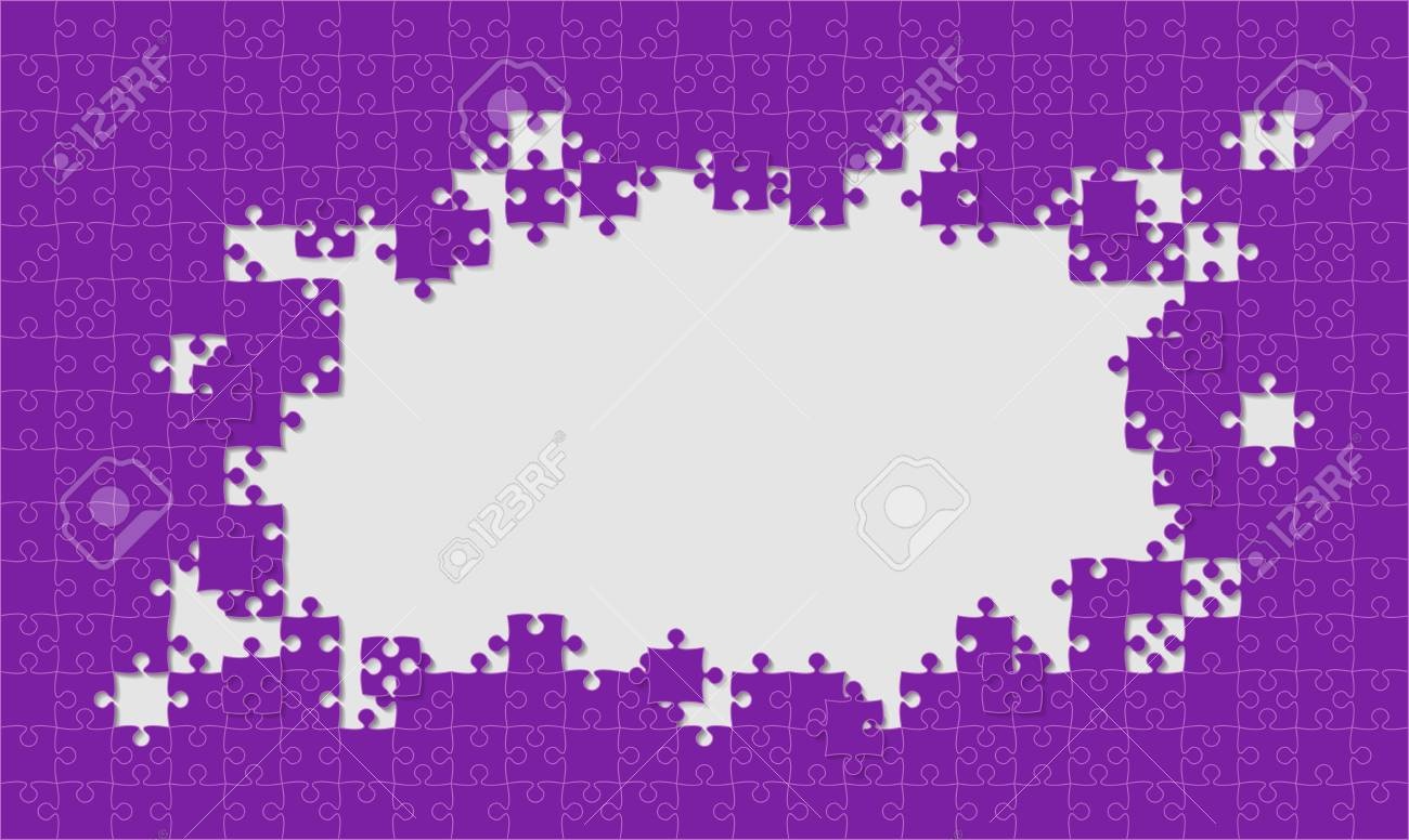 Purple Background Puzzle Jigsaw Puzzle Banner Vector Illustration