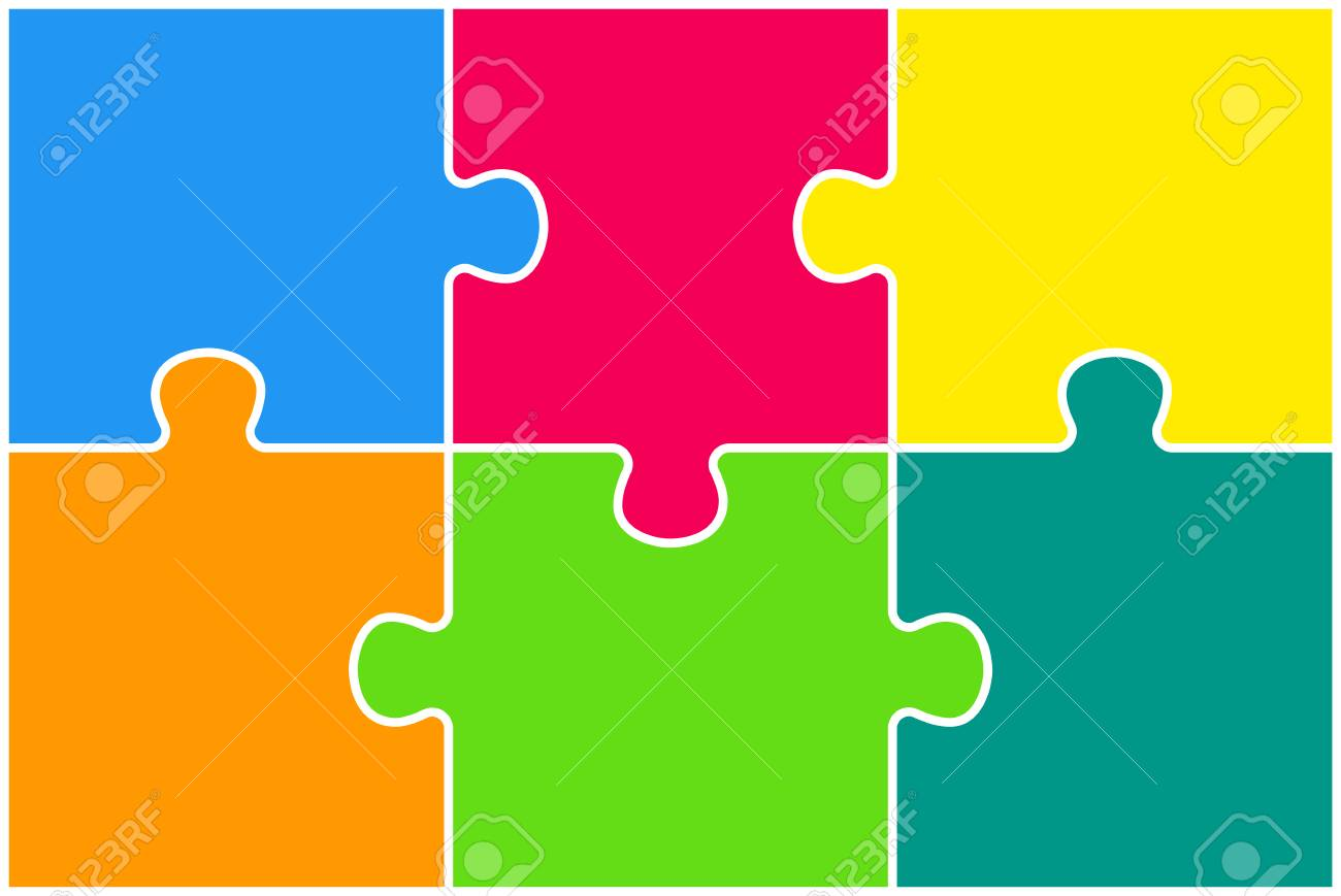 Colorful Puzzle Four Piece Presentation. Rectangle Infographic. 6 Step Process Diagram Card. Section Compare Service Banner. Background. Rectangle Puzzles Pieces. - 106878760