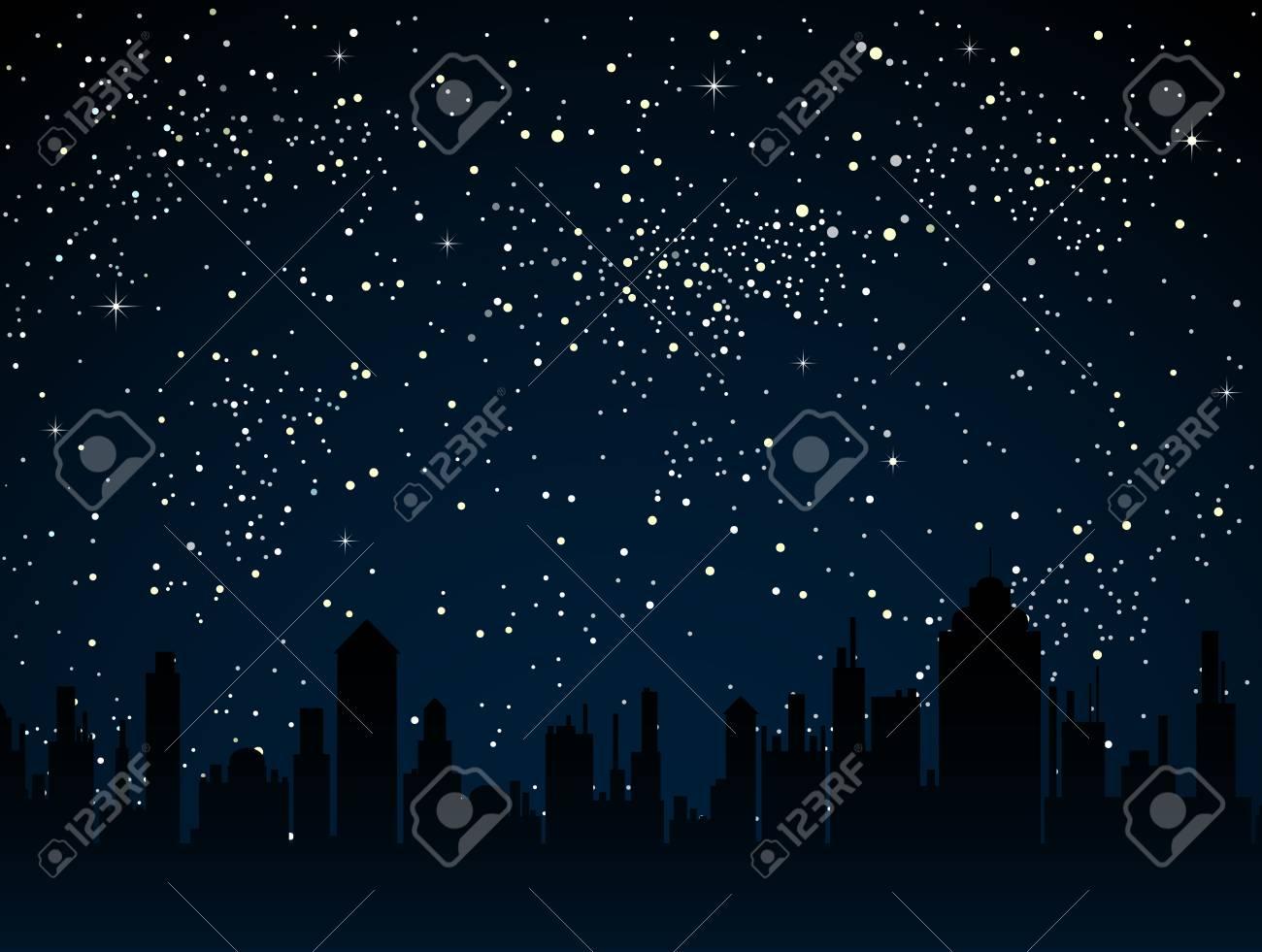 Realistic Starry Sky With Blue Glow Shining Stars Dark Sky
