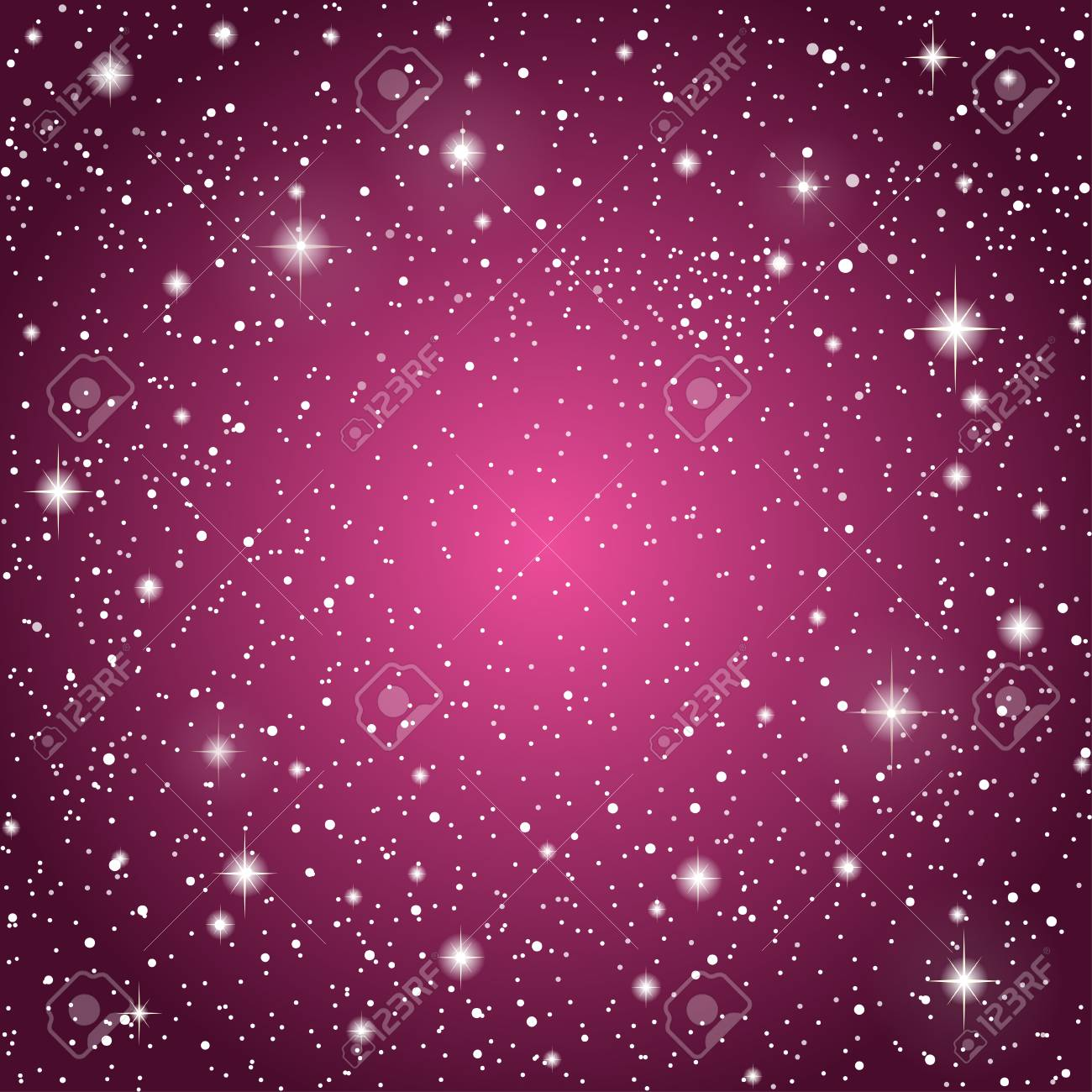 Realistic Starry Sky with Purple Glow. Shining Stars Dark Sky. Background, Wallpaper.