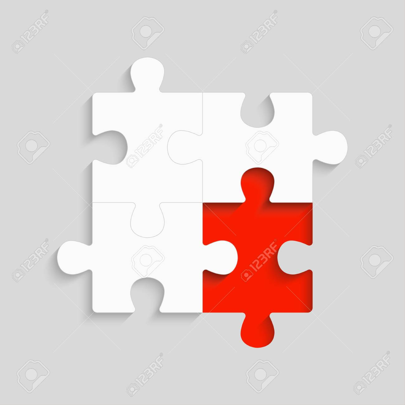 Pieces puzzle red background, banner, blank  Vector jigsaw section