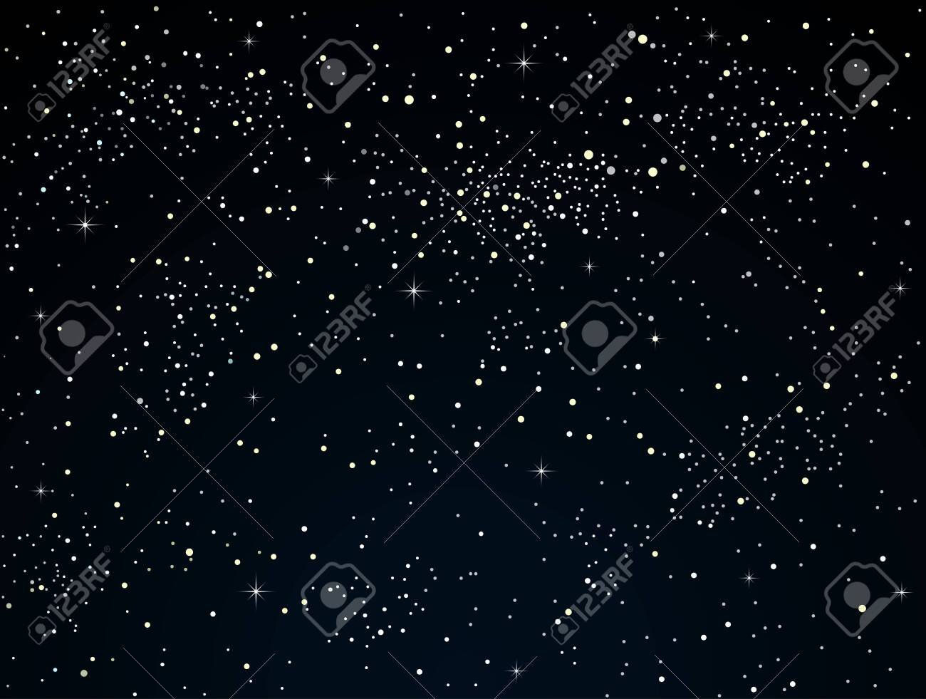 Starry night sky with dark glow. Shining stars on the dark sky. Outdoor night. Modern nature banner, background, card, backdrop. - 123617130