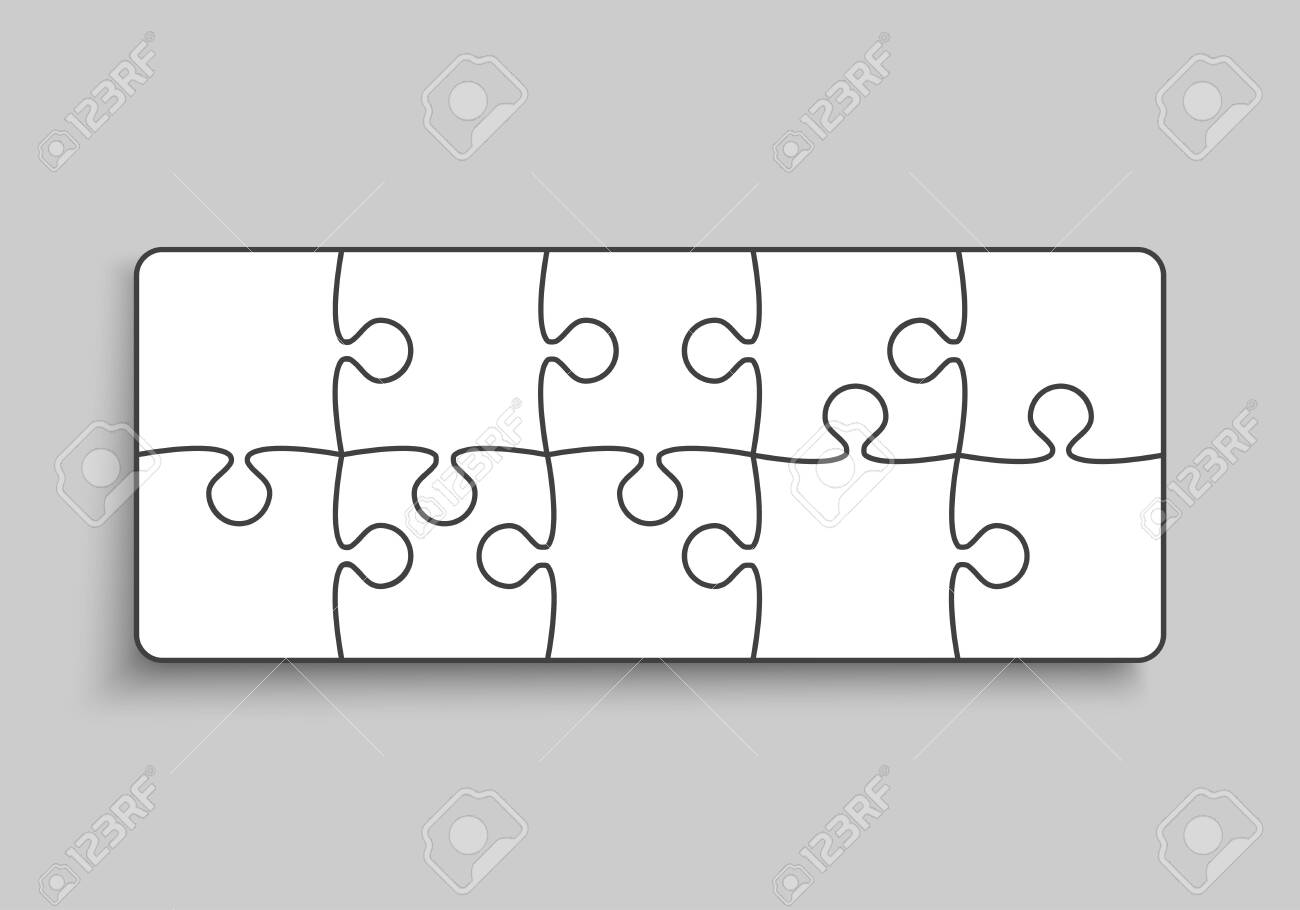 Background made with 10 white pieces puzzle. Vector rectangle banner jigsaw template with particles, details, tiles, parts. Frame pattern for education and presentation with element piece puzzle. - 148300301