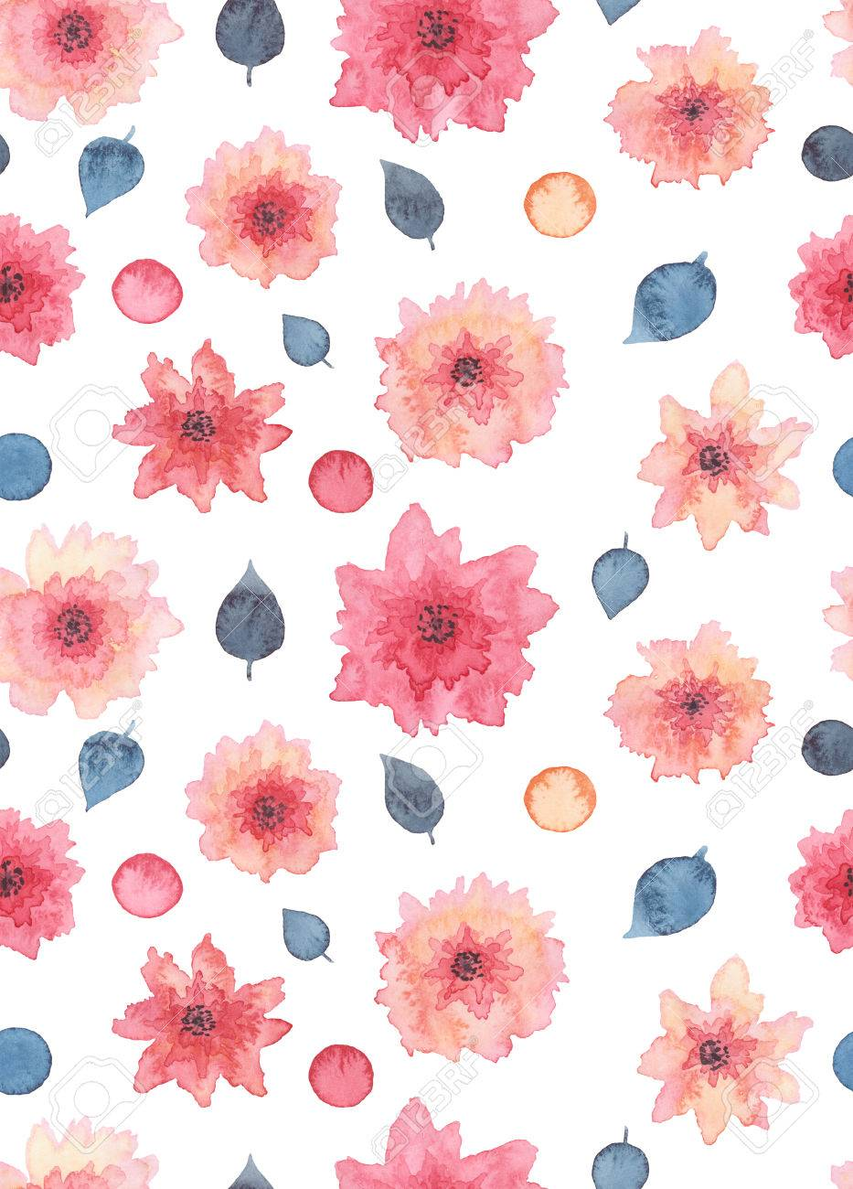 Watercolor Delicate Pink Flowers Spots And Deep Blue Leaves Stock