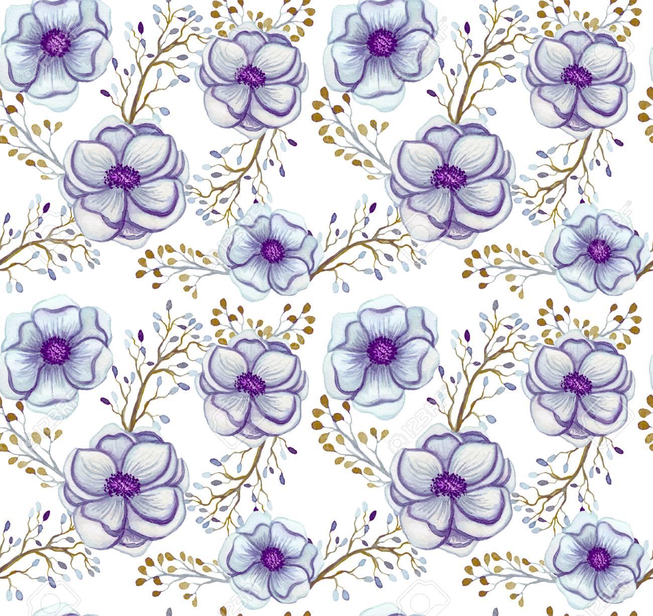 Seamless pattern of watercolor light blue flowers and berries stock seamless pattern of watercolor light blue flowers and berries stock photo 69795899 izmirmasajfo