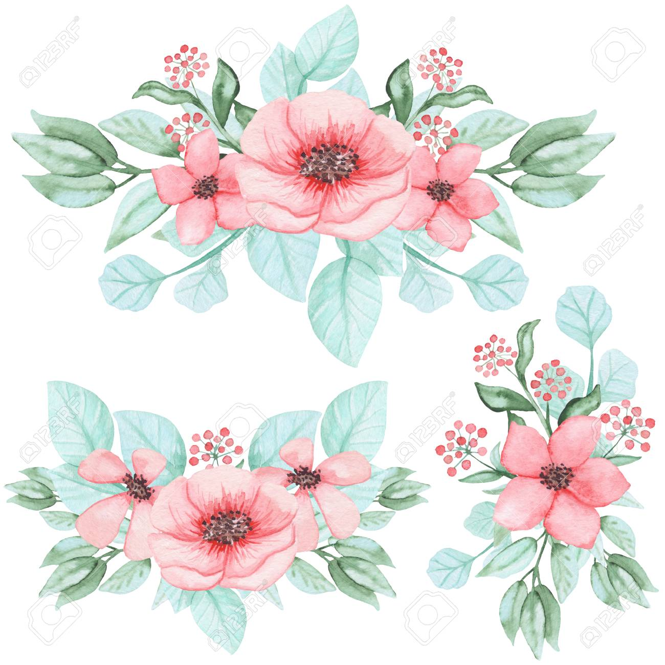 Set Of Watercolor Bouquets With Light Pink Flowers Stock Photo