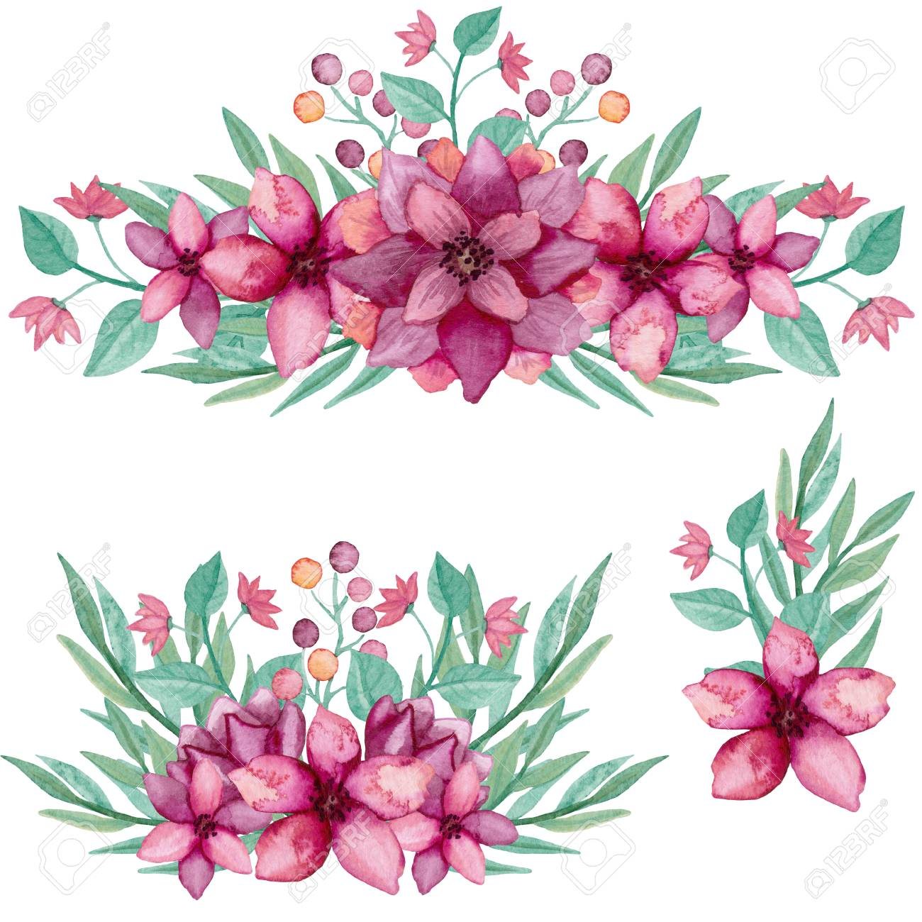 Set of bouquets with watercolor deep pink flowers and green leaves set of bouquets with watercolor deep pink flowers and green leaves stock photo 71929037 mightylinksfo