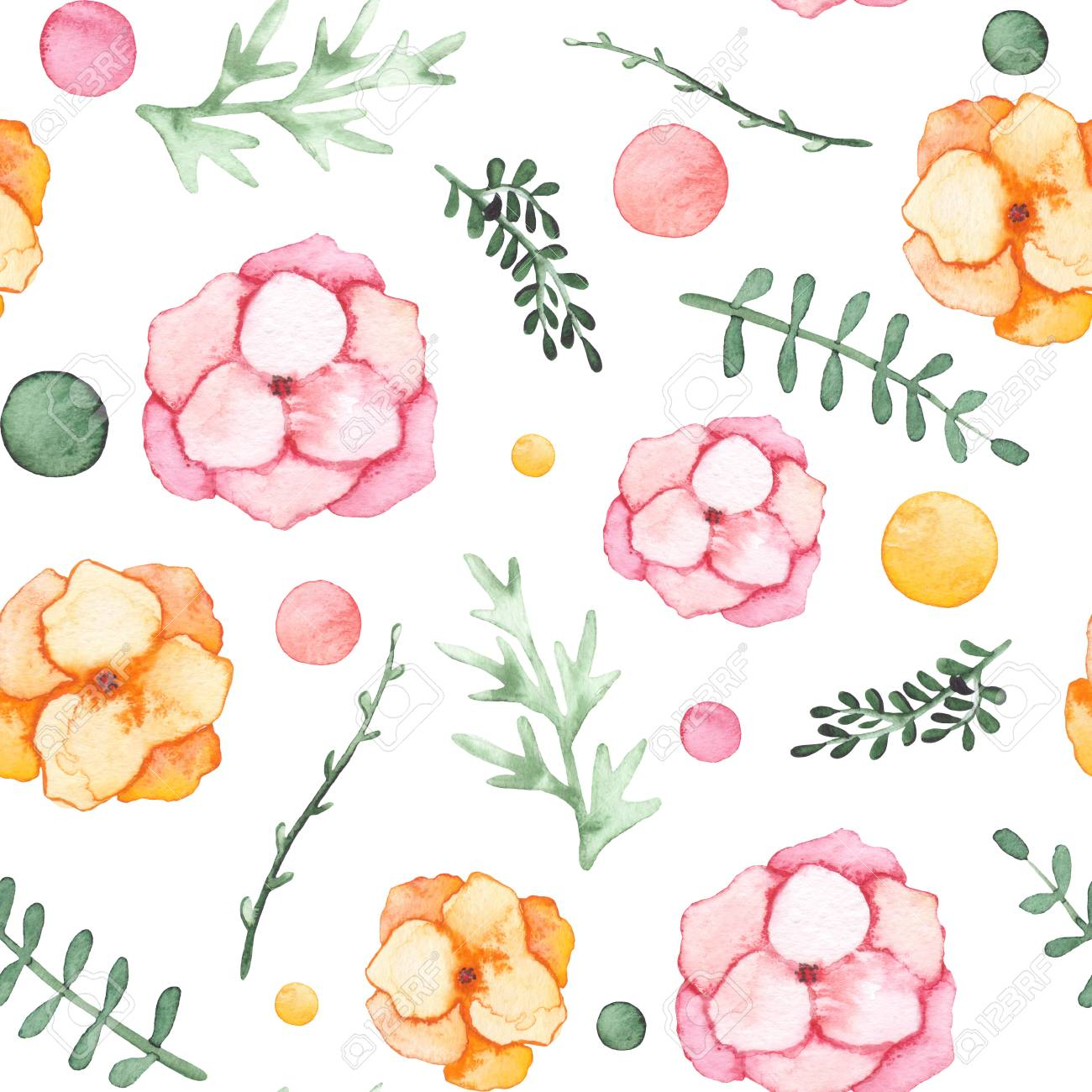 Watercolor Pink And Yellow Flowers Spots And Green Leaves Seamless