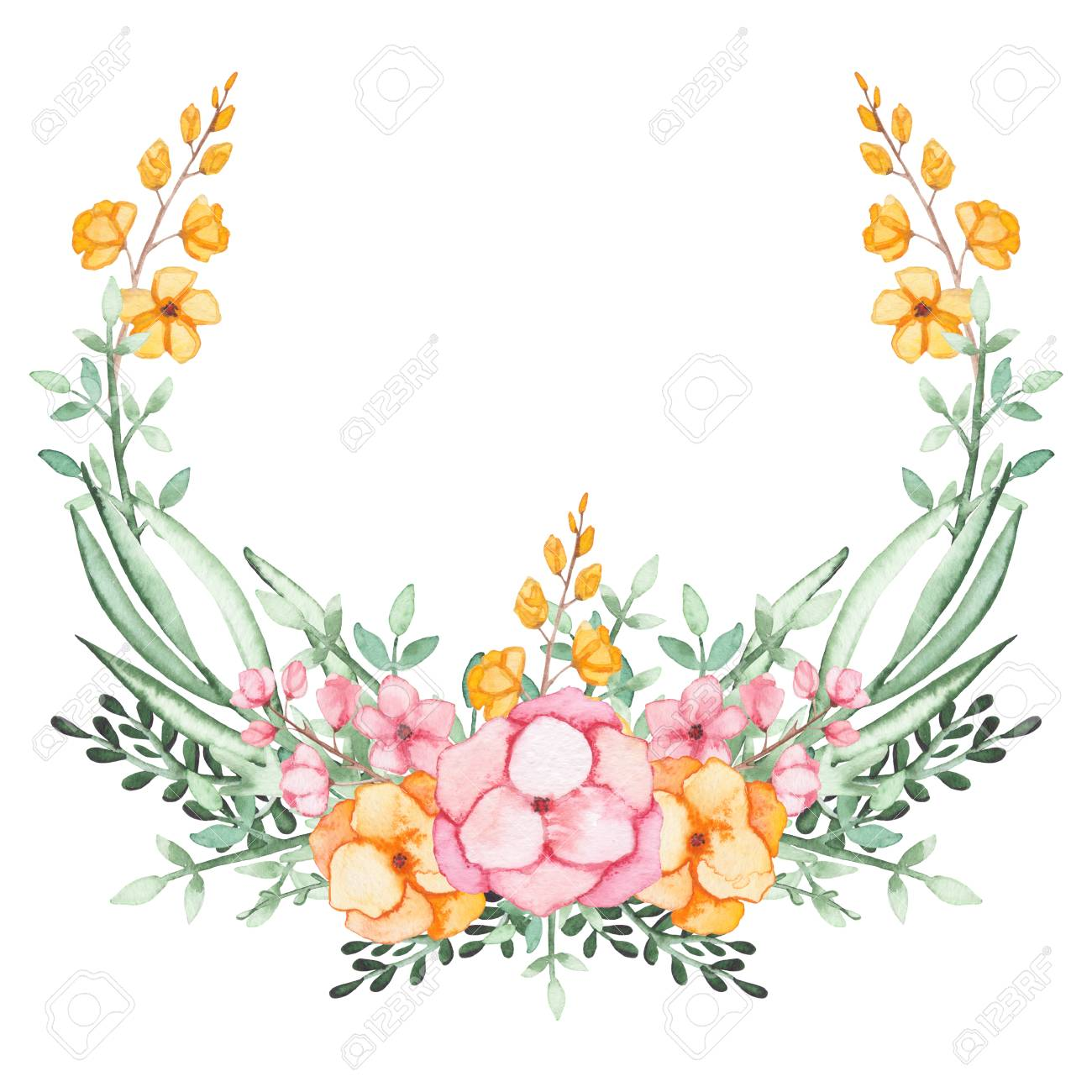 Floral Wreath With Watercolor Pink And Yellow Flowers And Green