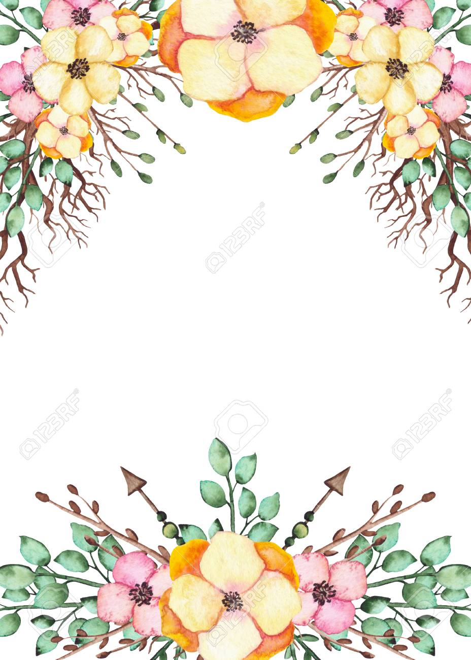 Frame With Watercolor Bright Yellow Flowers Branches And Arrows