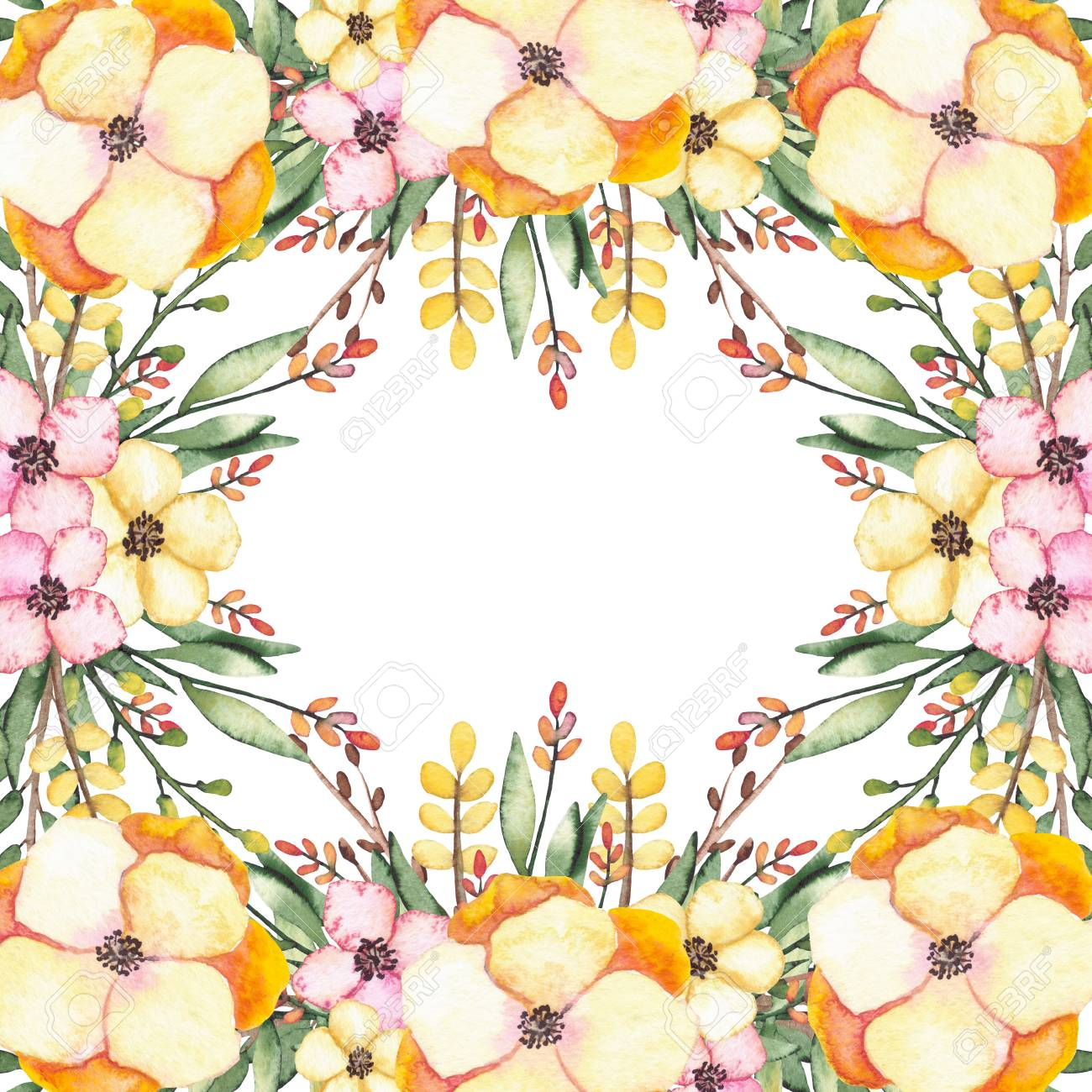 Square Frame With Watercolor Yellow And Pink Flowers Herbs And