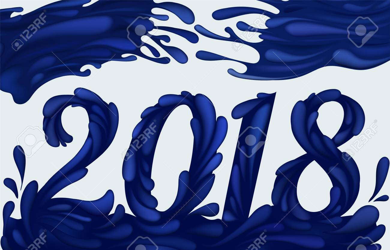 2018 new year card template with blue waves paint and splashes stock vector 90866572