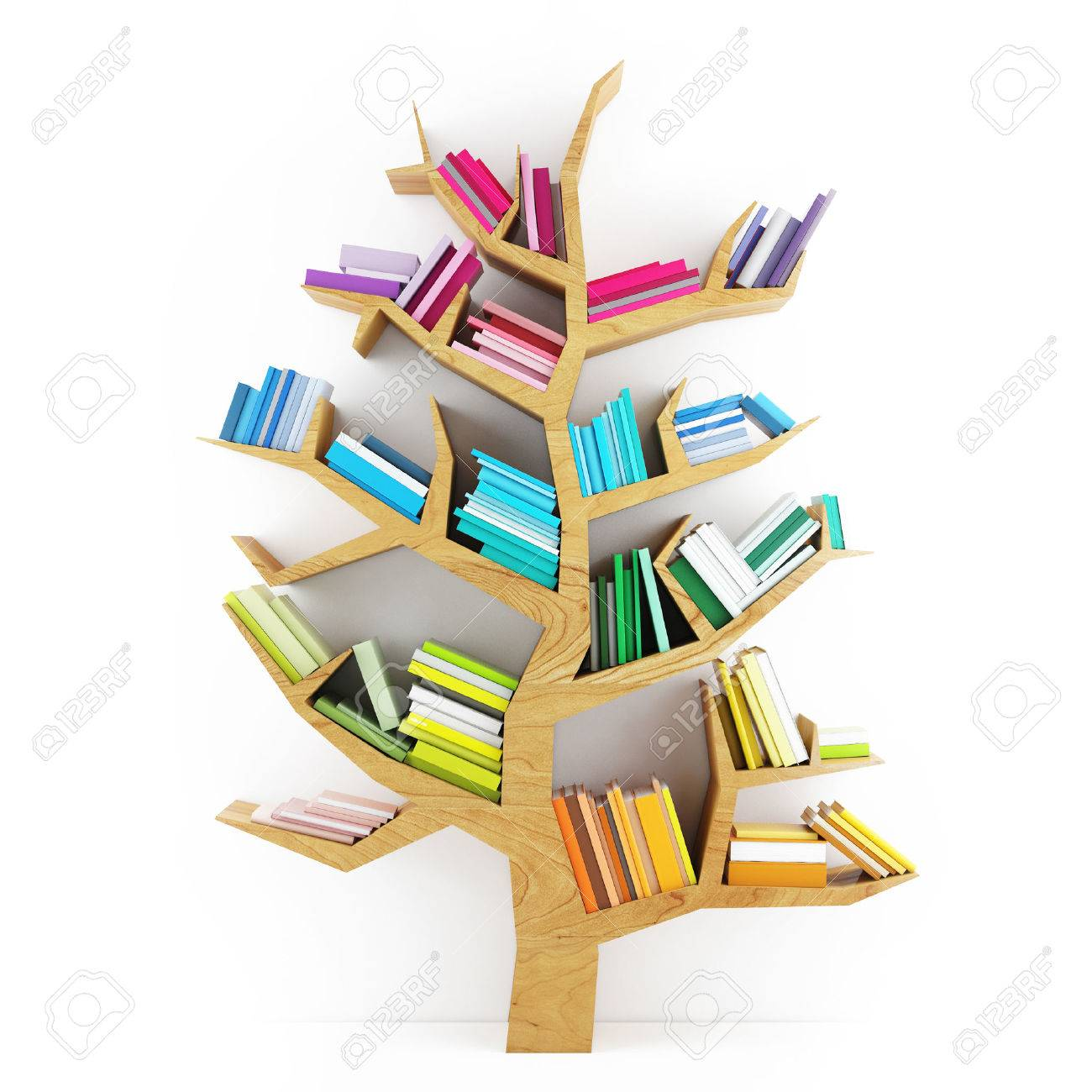 Tree of Knowledge, Wooden Shelf with Multicolor Books Isolated on White Background - 32377474
