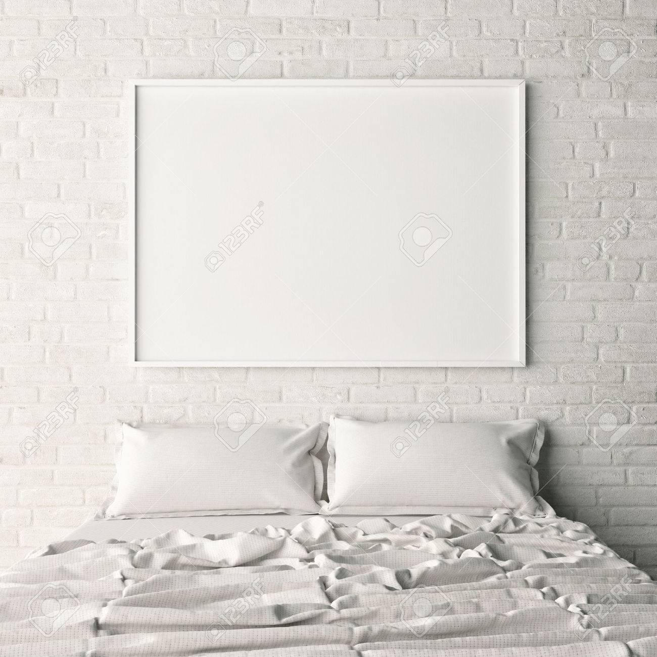 Leere Poster Auf Weissem Backstein Schlafzimmer Wand 3d Illustration