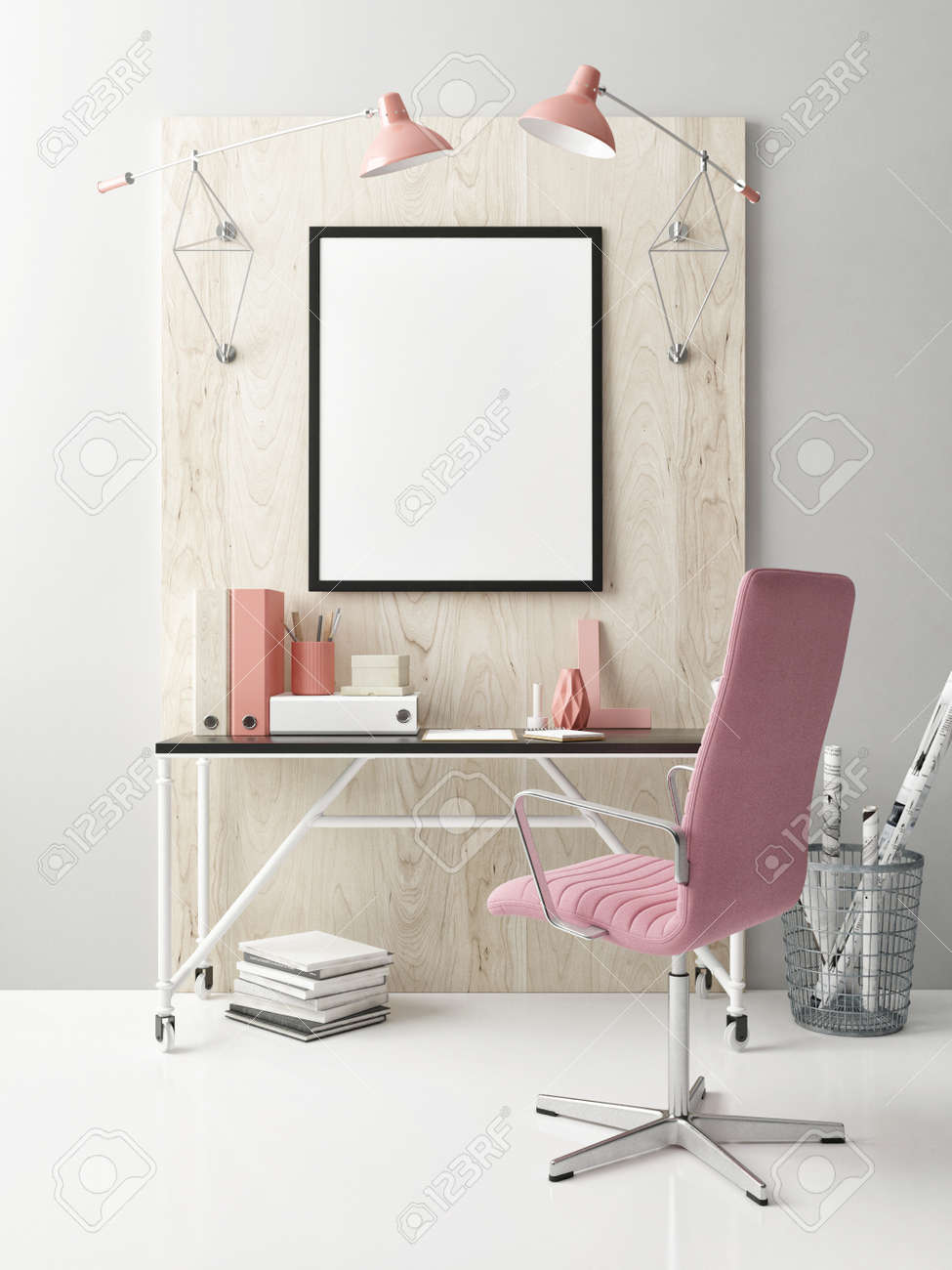 Mock Up workspace, a poster on the table, 3d illustration - 159145722