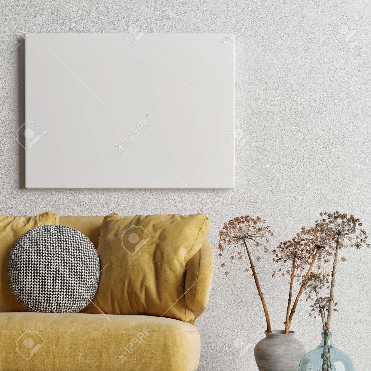 Mockup poster, Livingroom interior design with comfortable sofa, 3d illustration - 159149301