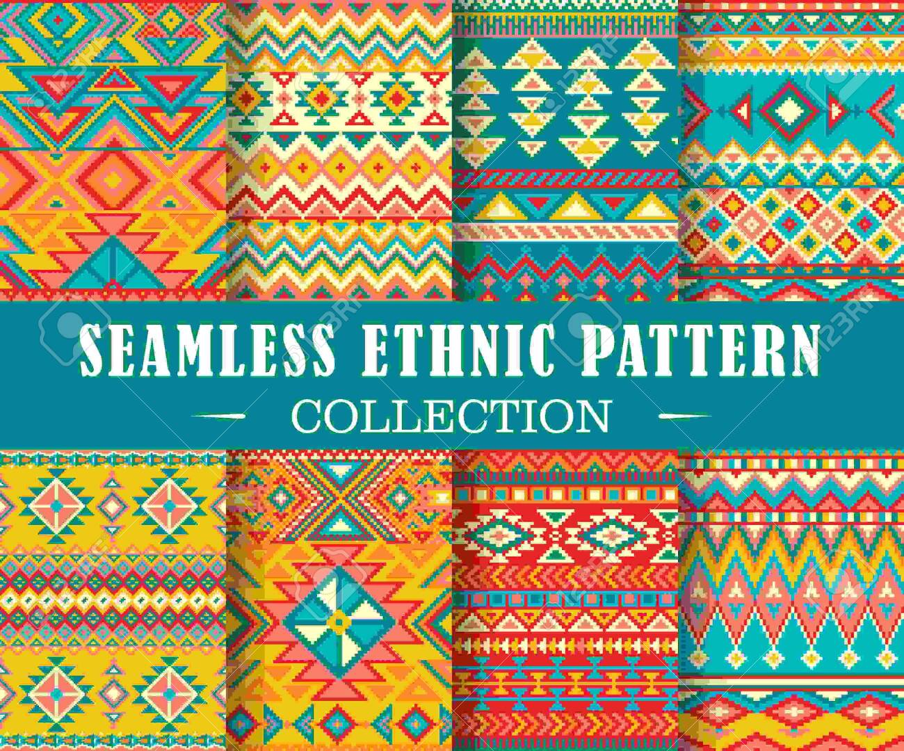Seamless set of geometric patterns. Vector ethnic design illustration. Tribal texture set. Patterns for stationery, package design, background, wallpaper, textile, web texture. Scrap booking paper. - 148487246
