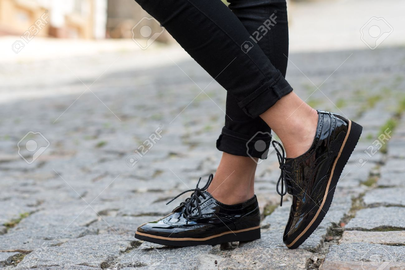 Close up of stylish female shoes. Footwear advertising. - 53221401