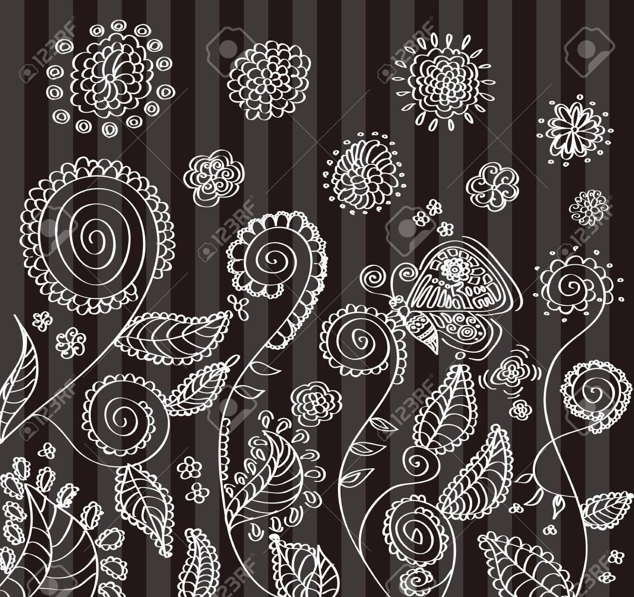手書きの花のイラストですのイラスト素材ベクタ Image 35835006