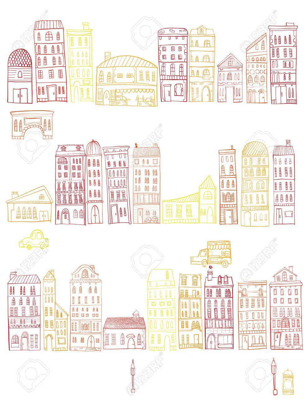 街並みのイラストですのイラスト素材ベクタ Image 79517090