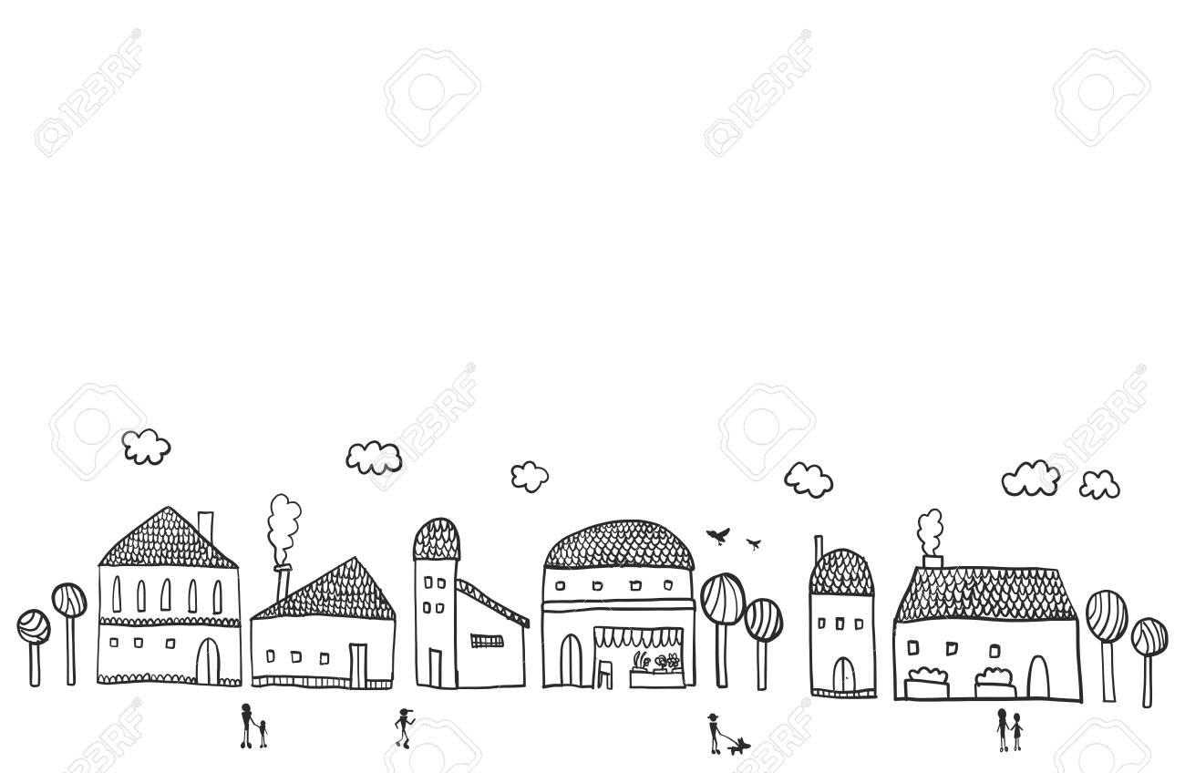 街並みのイラストですのイラスト素材ベクタ Image 82076939
