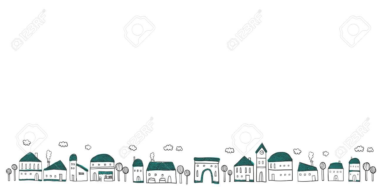街並みのイラストですのイラスト素材ベクタ Image 82732380