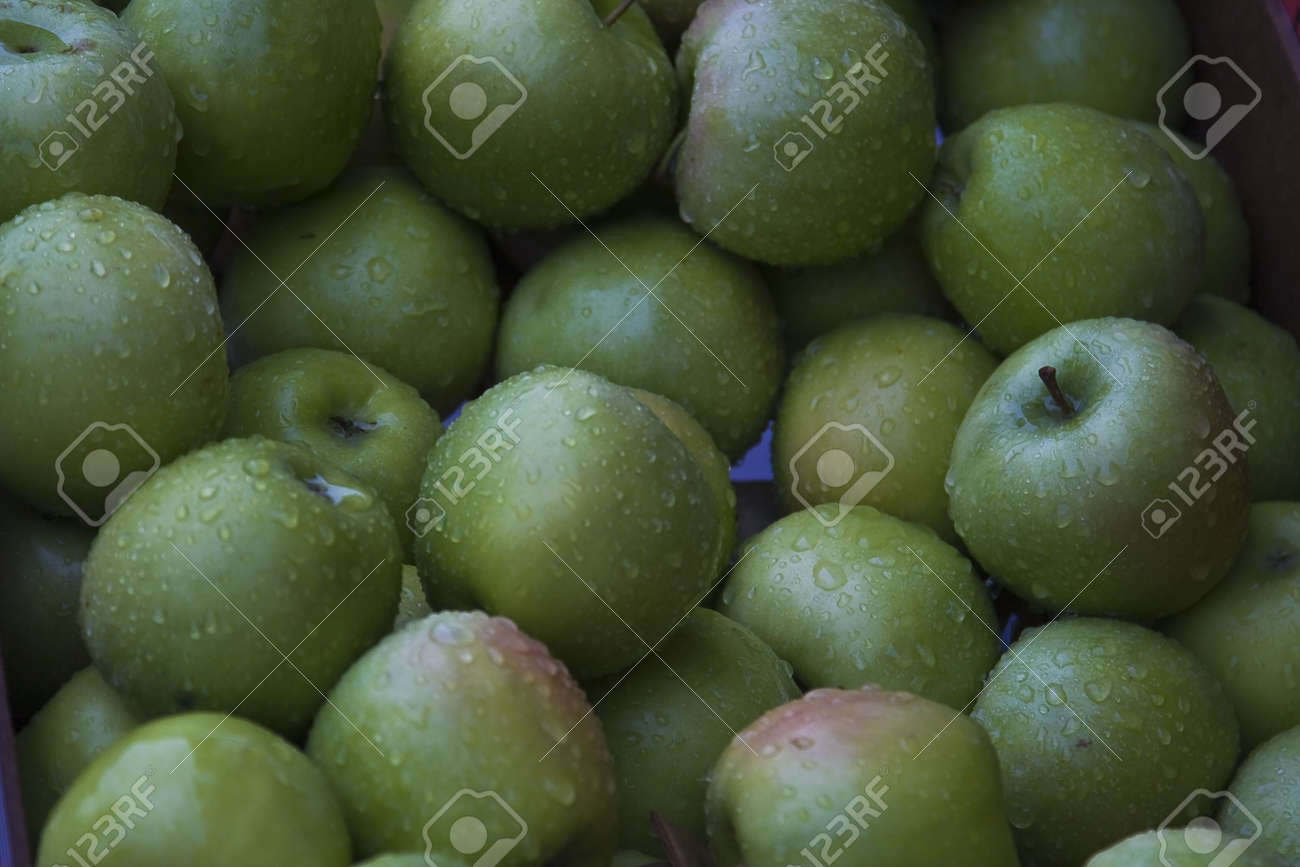 Apples for sale at a small French market in Normandy France Stock Photo - 2467394