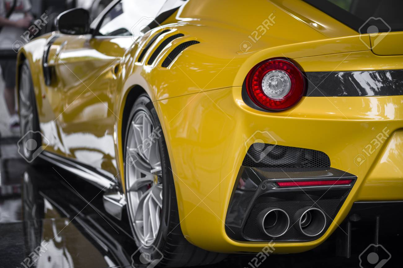 Turin Italy June 9 2016 A Yellow Ferrari F12 Tdf On Display Stock Photo Picture And Royalty Free Image Image 87461043