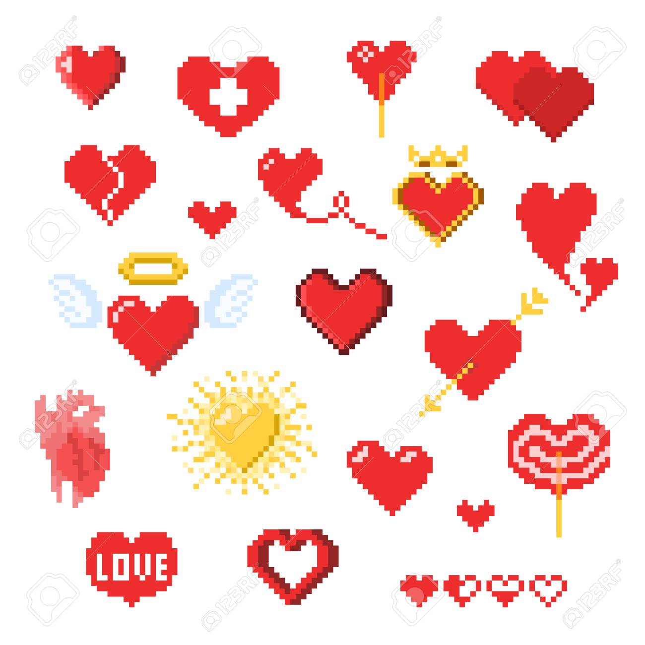 Various Pixel Heart Icons Isolated On White Valentines Day Decor Royalty Free Cliparts Vectors And Stock Illustration Image 126064710 With tenor, maker of gif keyboard, add popular pixel heart animated gifs to your conversations. various pixel heart icons isolated on white valentines day decor