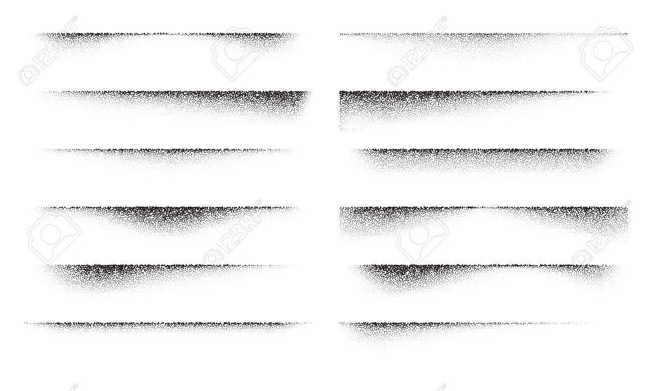 A set of stipple gradient shadow from paper sheet, various stipple hatching technique shadow effects, dot hatching or halftone gradient overlay shadows of edge of flat object - 156851431