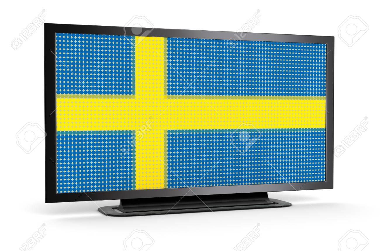 TV with Swedish Flag Stock Photo - 22375387