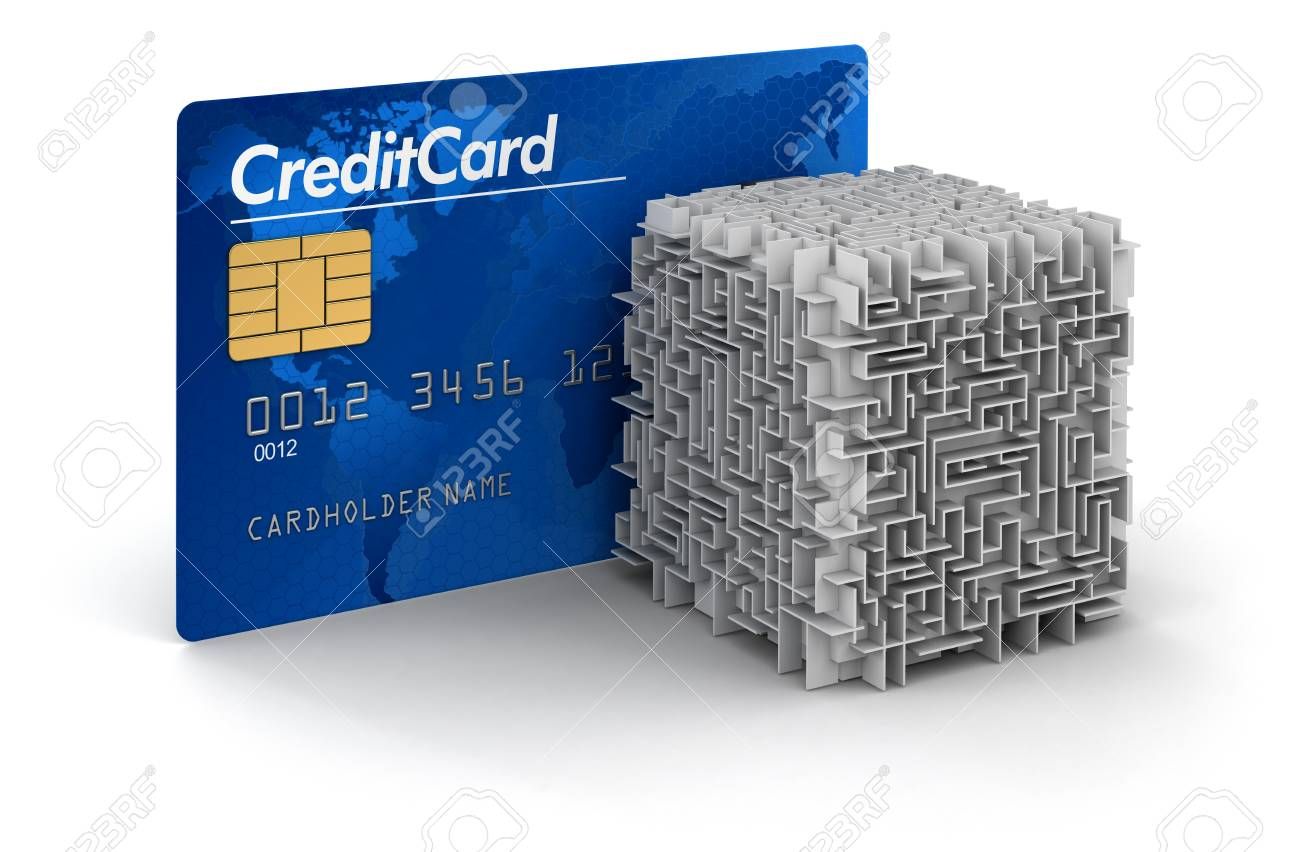cube maze and credit card clipping path included stock photo