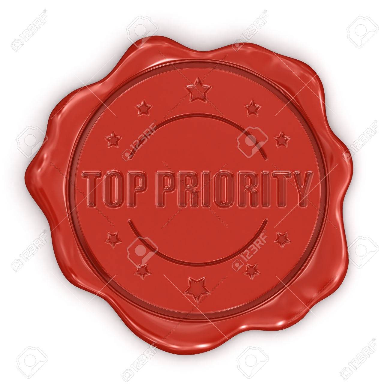 Wax Stamp Top Priority  clipping path included Stock Photo - 24356512