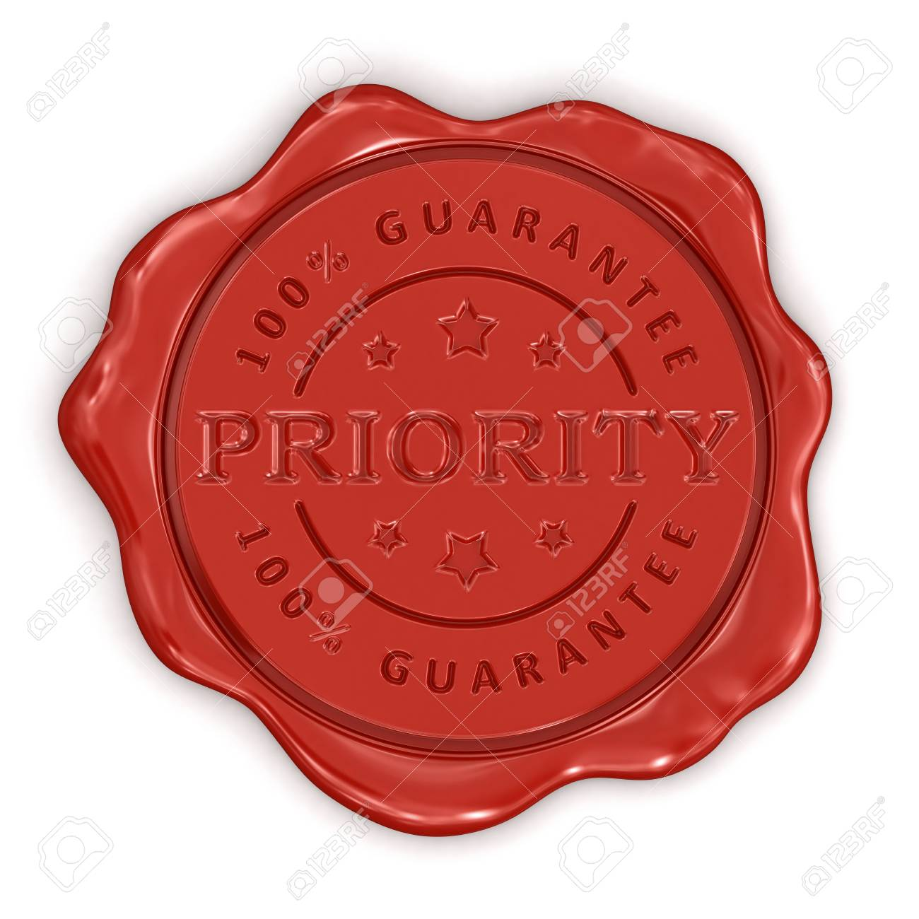 Wax Stamp Priority  clipping path included Stock Photo - 24654524