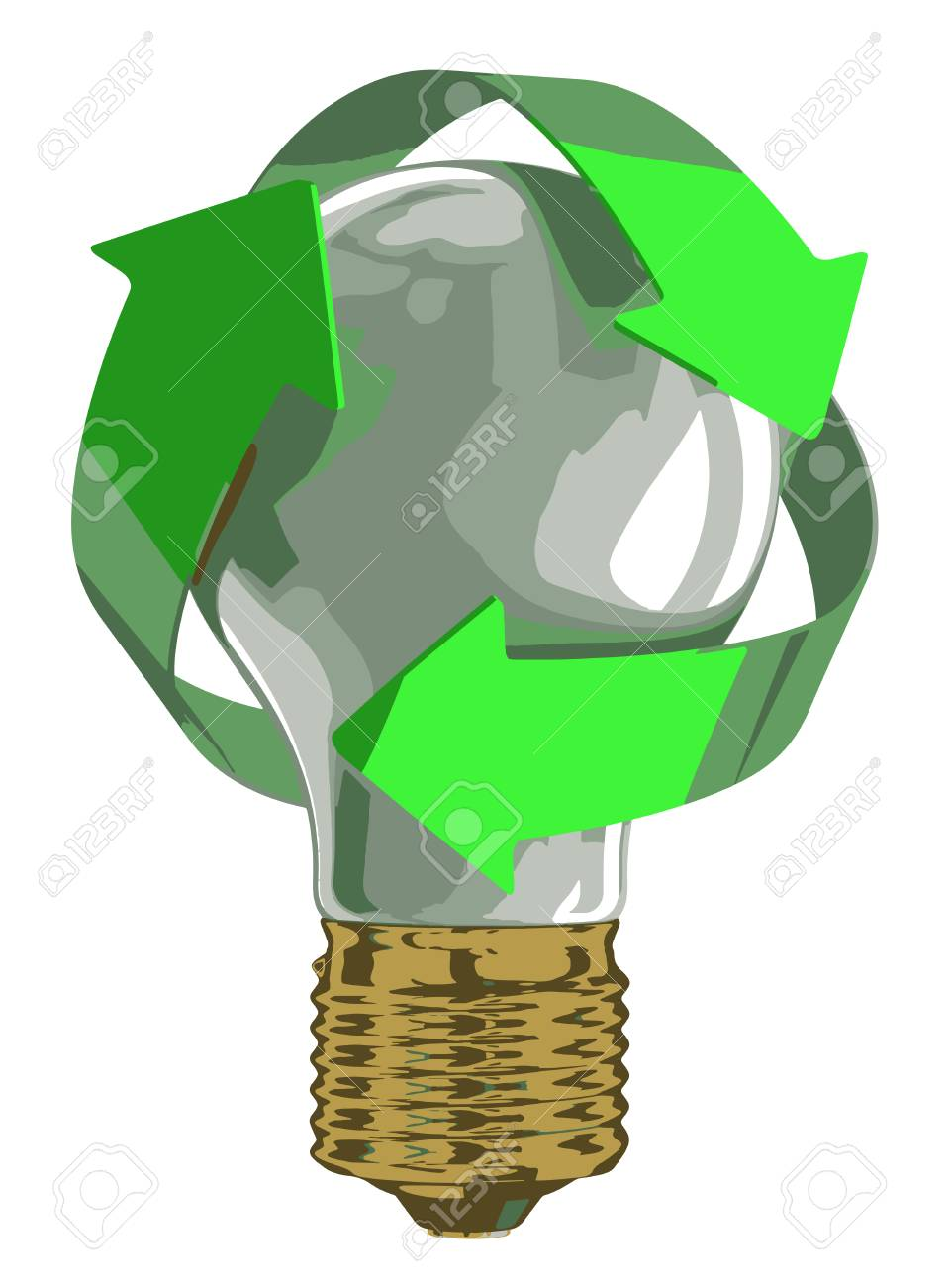 Recycle Light Bulb On White. Isolated. 3D Render Stock Vector   69475684