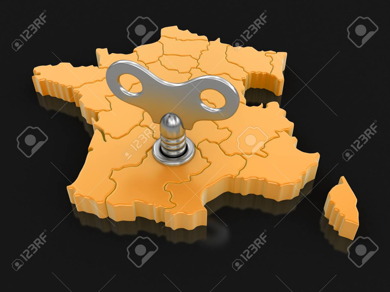 Map Of France With Key.Map Of France With Winding Key Image With Clipping Path Stock